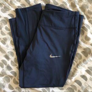 Nike Power Running Crop Leggings Blue Size Large